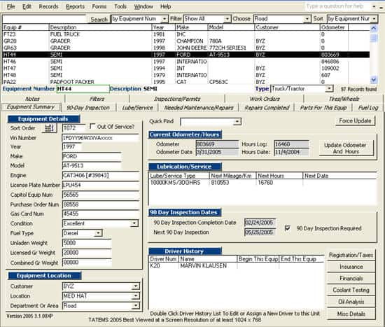 Click to view TATEMS Fleet Maintenance Software 4.0.00 screenshot