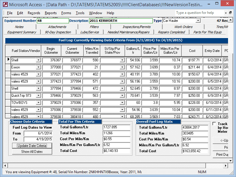 Fuel Log Tab