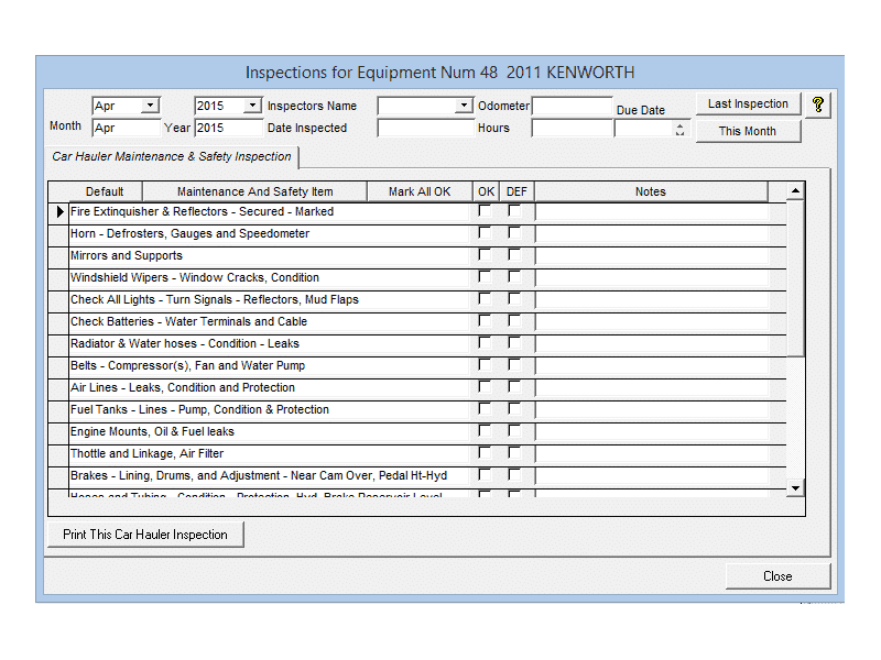 90 Day Inspection Checklist Screenshot