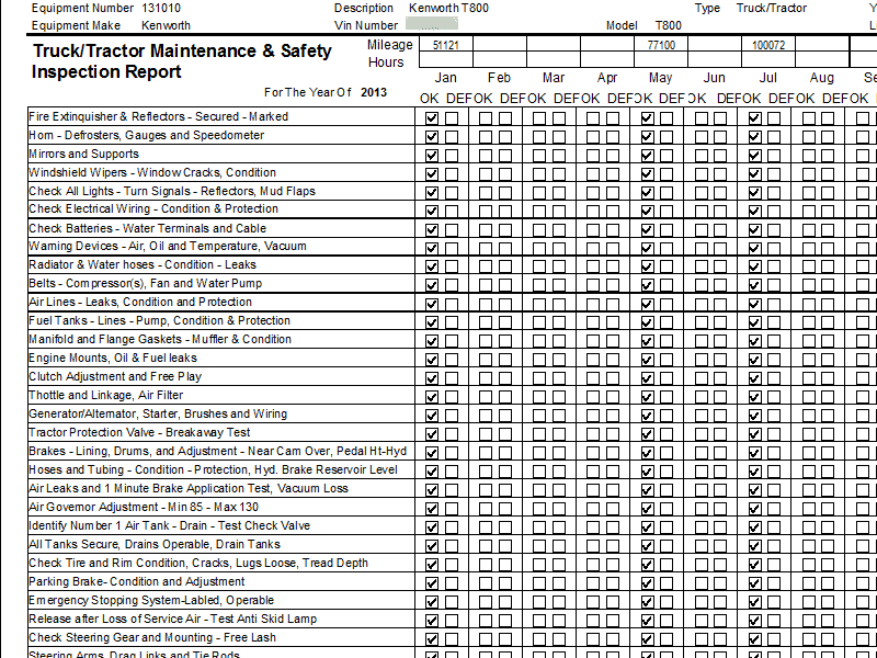 90 Day / CHP Bit Inspection Checklist Printout
