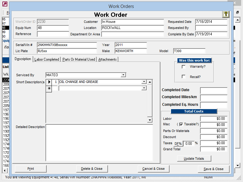 Work Orders Desriptions Tab