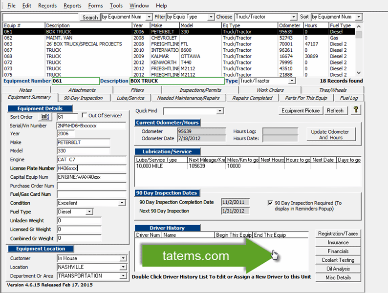 TATEMS Fleet Maintenance Software Screen shot
