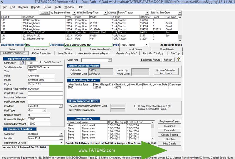 TATEMS Fleet Maintenance Software full screenshot