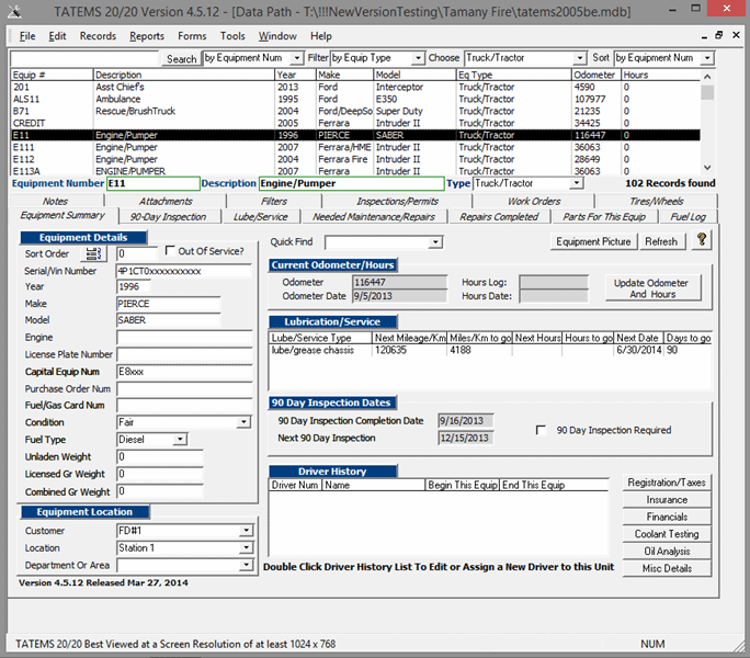 Click to view TATEMS Fleet Maintenance Software 4.5.12 screenshot