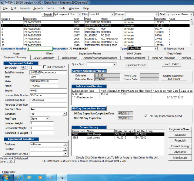 Click to view TATEMS Fleet Maintenance Software 4.4.00 screenshot