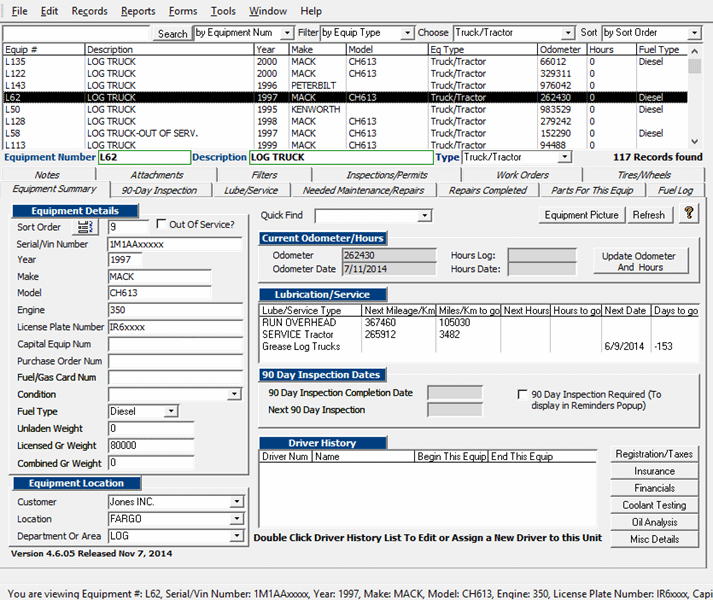 Fleet Maintenance Software Program the is easy to use yet powerful