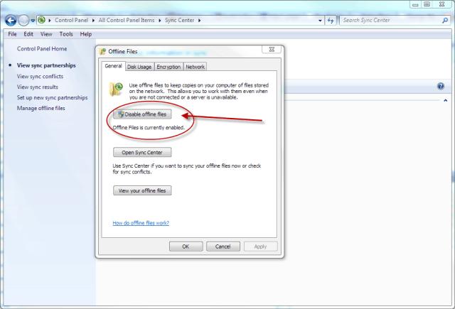 Windows 7 Sync Center Disable Offline Files