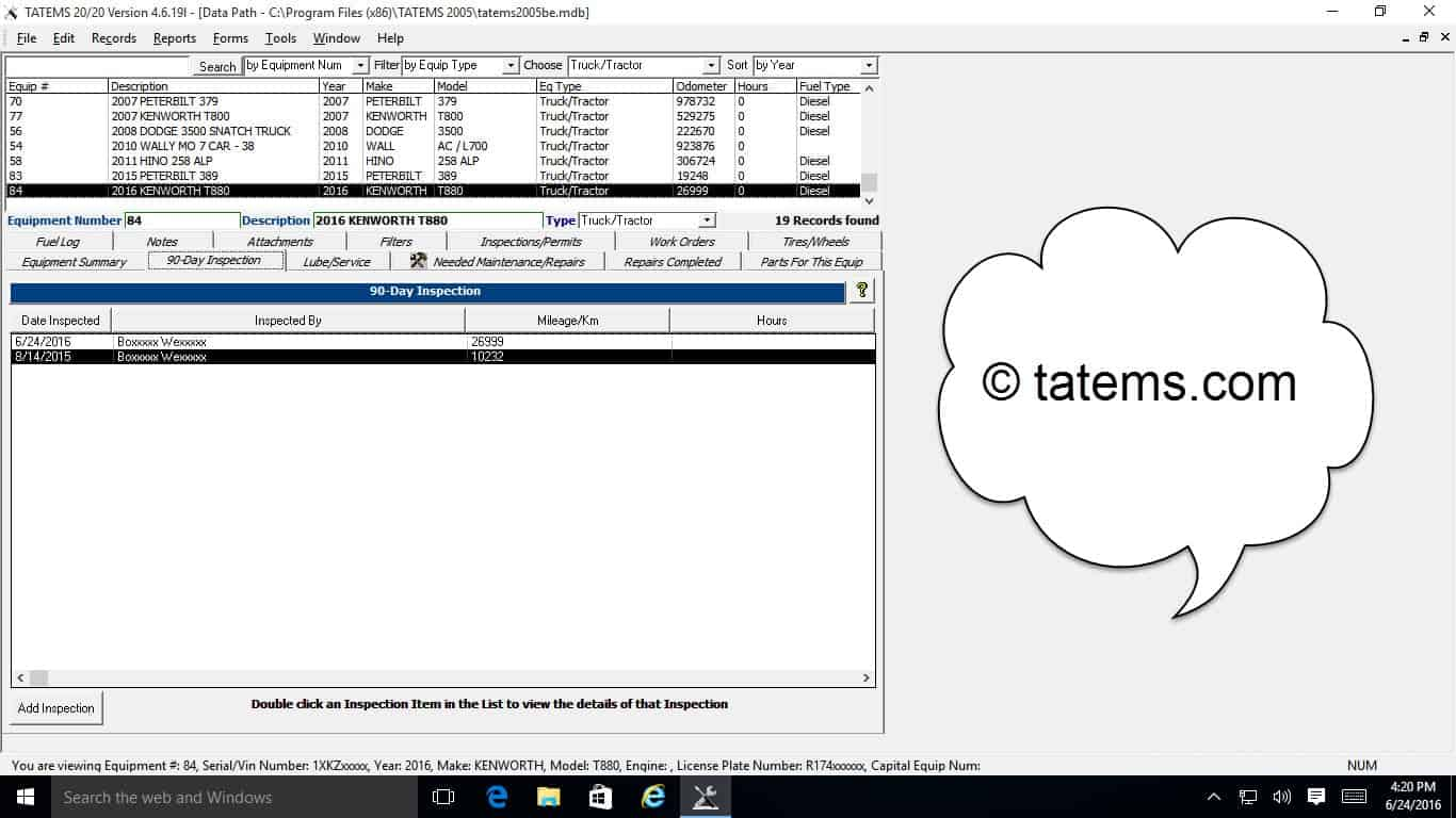 TATEMS Fleet Maintenance Software 90 Day Inspection List Tab Screenshot