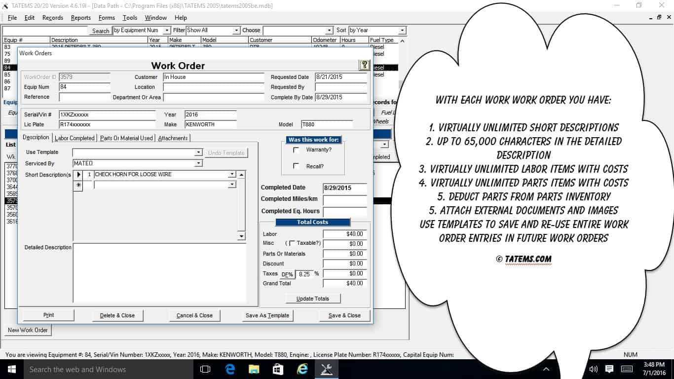 Work Orders Entry Screen