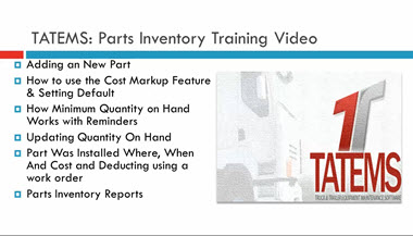 TATEMS Parts Inventory Help Video