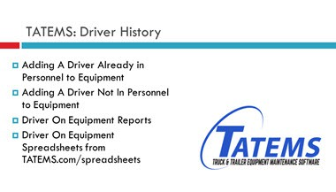 TATEMS Driver History On Equipment Help Video