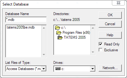 Excel 2010 Data Other Data Sources Select Database Choose tatems2005be.mdb database-Screenshot